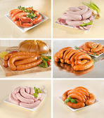 Different types of sausages — Stock Photo