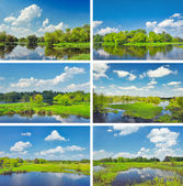Midday landscapes collection with flood waters of Narew river. — Stock Photo
