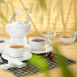 Stock Photo: Set of different teas with lot space for text.