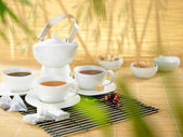 The set of different teas with a lot space for the text. — Stock Photo