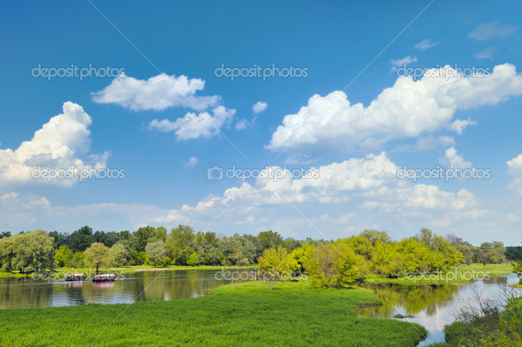 Summer landscape with two gondoles flowing by the river — Stock Photo #10979175