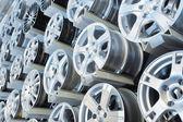 Various alloy wheels — Stock Photo