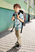 Time for school. Dreamy kid. — Stock Photo