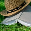 Book and straw hat on grass — Stock Photo