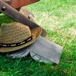 Book and straw hat on grass — Stock Photo #11448165