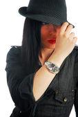 Sensual woman with male dress 036 — Stock Photo