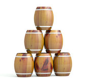 Wine barrels. 3D model islated on white background — Stock Photo