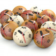 Stock Photo: Time concept. Wooden sphere clocks