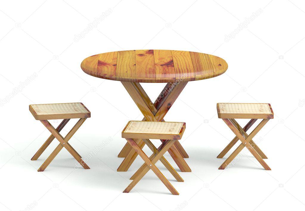 gartentisch mit st hlen aus holz gemacht 3d modell. Black Bedroom Furniture Sets. Home Design Ideas