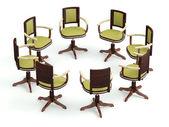 Büro sessel im kreis. treffen-konzept. 3d modell — Stockfoto