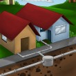 Drain system house - Stock Photo