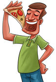 Eating pizza — Stock Photo