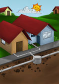 排水系统的房子 — 图库照片