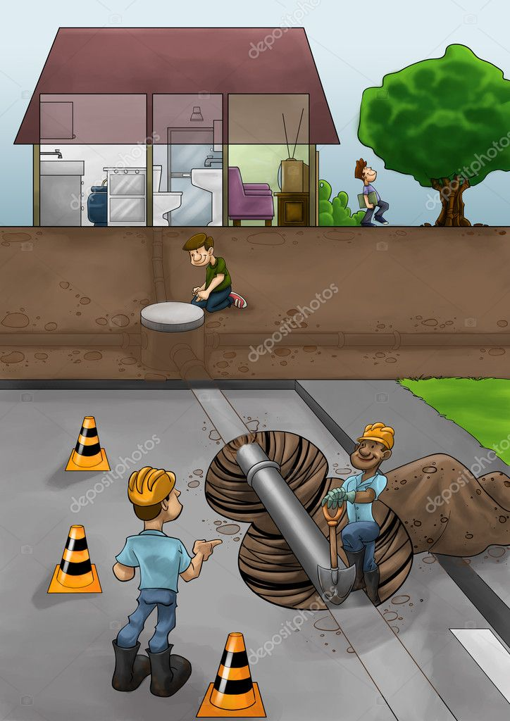 Some fixers working in the street ta solve pipe problems  Stock Photo #11117564
