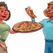 Couple and pizza — 图库照片