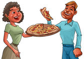 Couple and pizza — Stock Photo