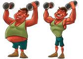Fett och stark man — Stockfoto