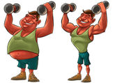 脂肪和强大的人 — 图库照片