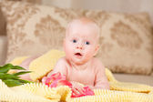 Baby lie on bed — Stock Photo