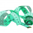 Stock Photo: Green measuring tape