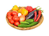 Vegetables in a wattled basket — Stock Photo