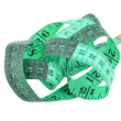 Green measuring tape — 图库照片