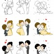 Постер, плакат: Lovely bride and groom with 3 actions