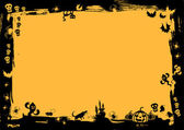 Borde negro en fondo amarillo para halloween — Vector de stock