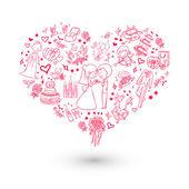 Convite de casamento coração grande — Vetorial Stock