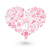 Invitation de mariage de grand coeur — Vecteur
