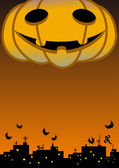 A giant halloween pumpkin head — Stock Vector