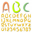 Funny hand writing stripes font — Stock Vector