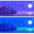 Stock Vector: Night city, landscape, abstract