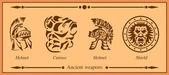 Ancient weapons, helmet, shield — Stock Vector