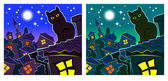 Blue night, cat, roof — Stock Vector