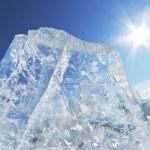 Piece of ice and the sun on winter Lake Baikal — Stock Photo