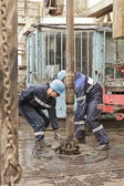 Two drillers at work — Stock Photo