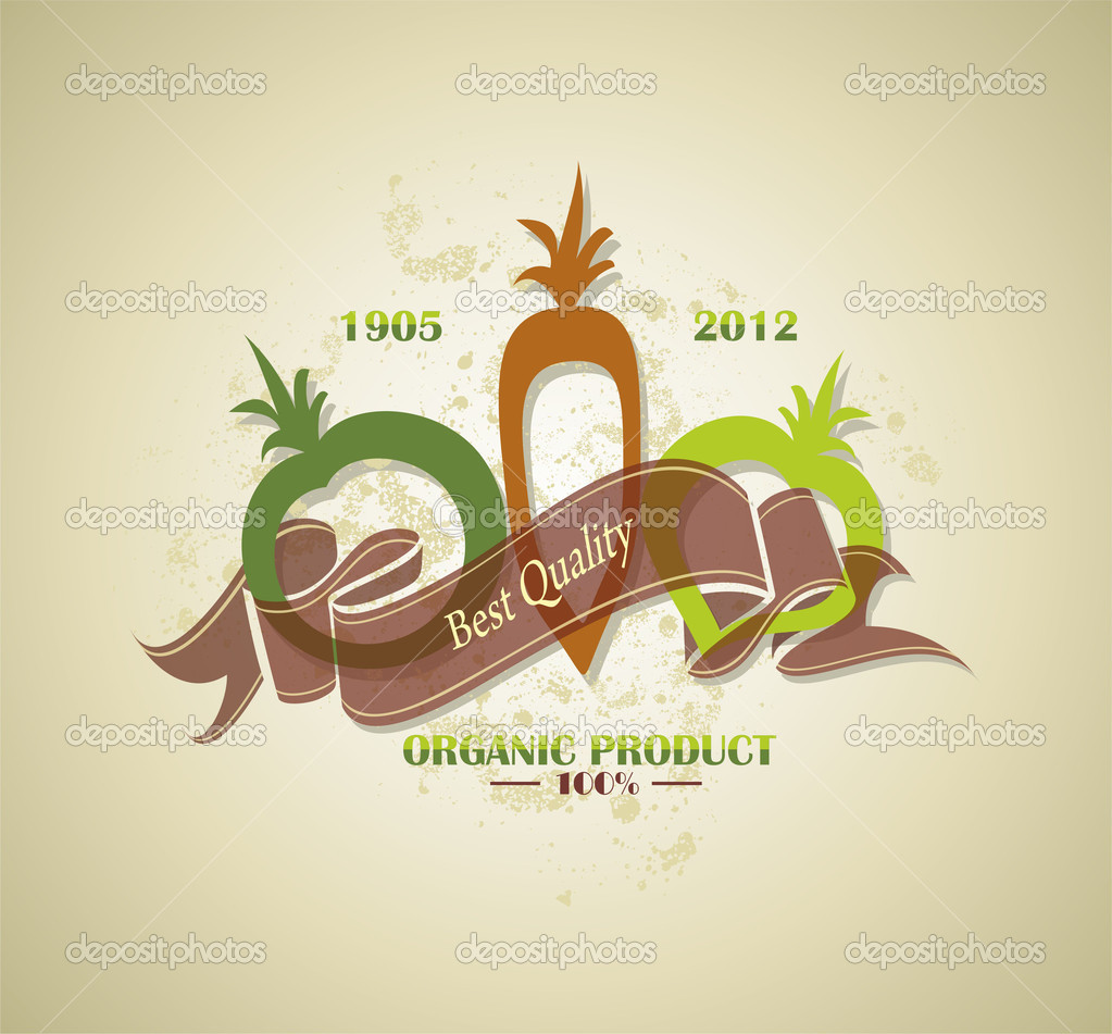 Organic and farm fresh food badge or label  Stock Vector #10946885