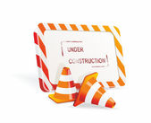 Under construction sign and traffic cone icons. — Stock Vector