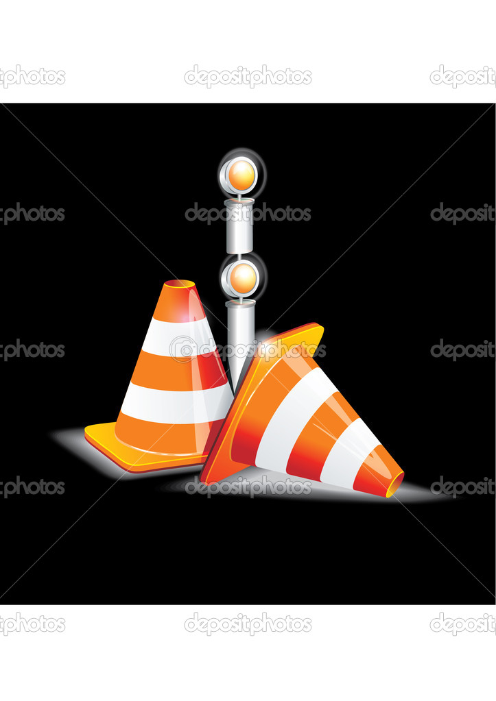 Under construction sign and traffic cone icons. — Stock Vector #11098113