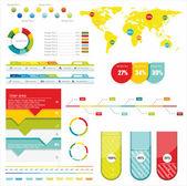 Wereld kaart en informatie afbeeldingen — Stockvector