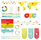 World Map and Information Graphics — Vetorial Stock
