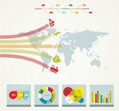 Elementos de la infografía con un mapa en estilo retro — Vector de stock