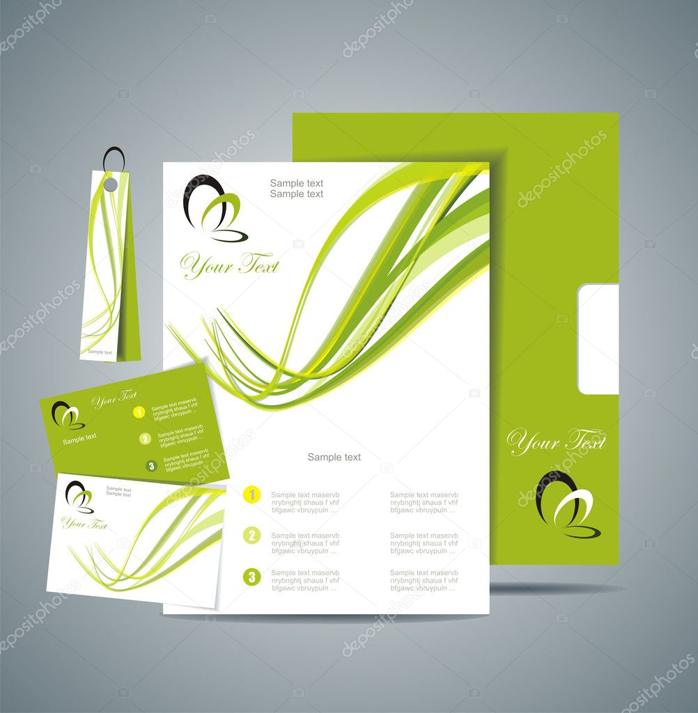 Corporate Identity Template Vector with green background — Stock Vector #11536952