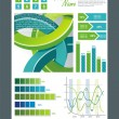 Blue and green technological banner with Information Graphics . Vector illustration - Stock Vector
