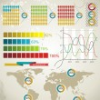 Vector de stock : Retro infographics set. World Map and Information Graphics