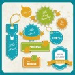 Set of retro ribbons and labels. Vector illustration. — Stok Vektör #11795609