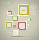 Modèle de site web de style rétro, cadre de conception de vecteur. — Vecteur