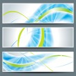 Set of three banners, abstract headers with blue lines — Stock Vector