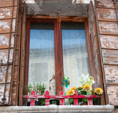 Old window with shutters and flowers — Stock Photo